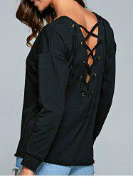 Lace-Up Casual T-Shirt - BLACK S