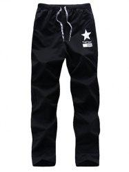 Five-Point Star Print Drawstring Casual Pants -