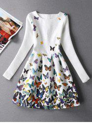 Butterfly Print Skater Dress with Sleeves - WHITE