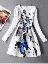 Vintage Butterfly Print Fit and Flare Dress With Sleeves -