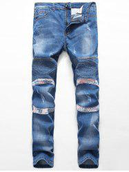 Zipper Fly Straight Insert Scratched Pintuck Jeans -