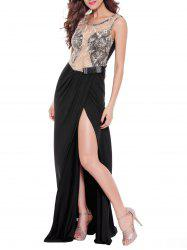 Sequined See-Through Backless Stunning Maxi Dress