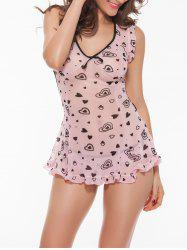Cut Out Printed Ruffled Babydoll - PINK