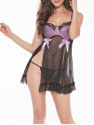 Slit See-Through Bowknot Babydoll - PURPLE ONE SIZE
