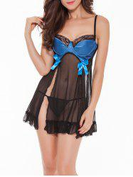Slit See-Through Bowknot Babydoll