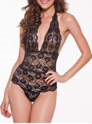 Halter Lace Backless Sheer Teddies