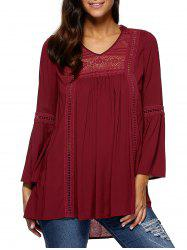 Lace Insert Peasant Blouse -