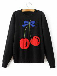 Cherry Patterned Knitted Sweater -