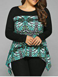 Plus Size Abstract Pattern Asymmetrical Blouse