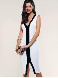 Contrast Trim Front Slit Dress -