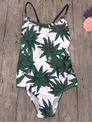 Cami Leaf Print Lace-Up Swimwear - WHITE XL
