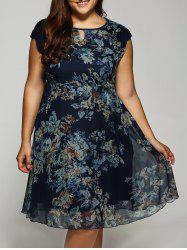 Cap Sleeve Vintage Floral Dress -