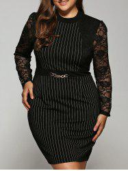 Striped Lace Splicing Dress -