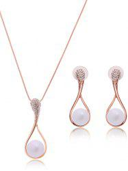 Bijoux Teardrop Faux Perle Set - Or Rose