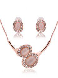 Faux Opal Rhinestone Oval Jewelry Set - ROSE GOLD