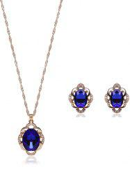 Hollowed Faux Sapphire Jewelry Set