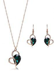 Faux Crystal Hollow Out Jewelry Set - GREEN