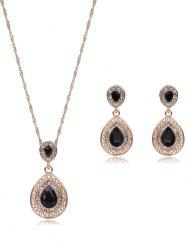 Faux Gem Rhinestone Teardrop Jewelry Set - BLACK