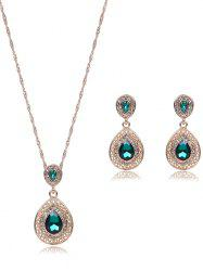 Faux Gem Hollowed Teardrop Jewelry Set - GREEN