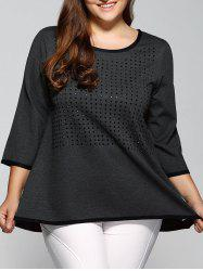 3/4 Sleeve Rhinestoned Loose Blouse - GRAY