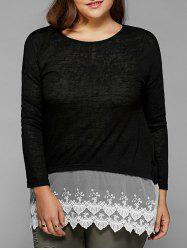 Plus Size Lace Splicing Smock Blouse -