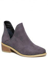 Slip On Cut Out Suede Ankle Boots -