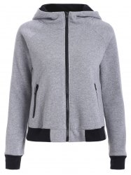 Two Tone Zip Up Hoodie - GRAY 2XL