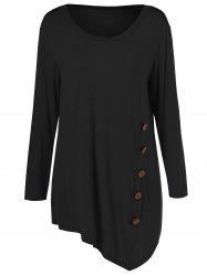Plus Size Inclined Buttoned Blouse - BLACK