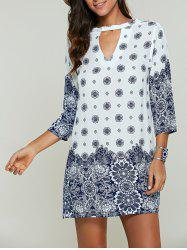 Hollow Out Tribal Print Loose Dress