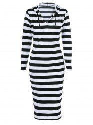 Midi Stripe Fitted Hooded Long Sleeve Dress - WHITE AND BLACK