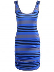 U Neck Striped Casual Bodycon Dress