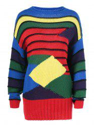 Geometrical Color Block Striped Pullover Sweater -