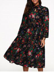 Flowers Print High Waist Mandarin Dress