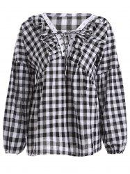 Puff Sleeve Plaid Lace-Up Blouse -