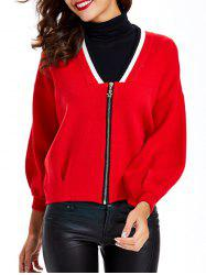 Zipper Design Textured Contrast Color Cardigan -