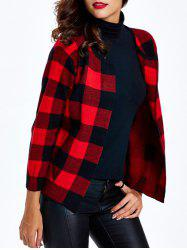 Collarless Plaid Slimming Cardigan -