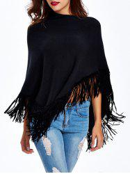Asymmetrical Fringed Loose-Fitting Knitwear -