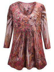 Plus Size Ornate Printed Blouse
