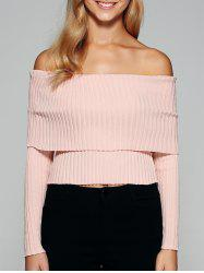 Foldover Off The Shoulder Sweater - PINK M