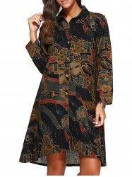 Loose Asymmetric Abstract Print Shirt Dress