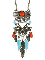 Faux Gem Feather Layered Necklace -