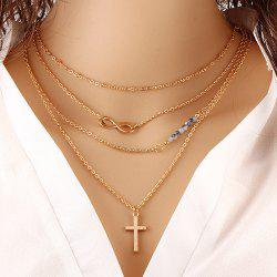 Infinity Beaded Crucifix Pendant Layered Necklace - GOLDEN
