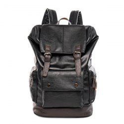 Flap Buckle Strap Vintage Backpack - BLACK