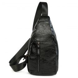 PU cuir Vintage Chest Bag - Noir