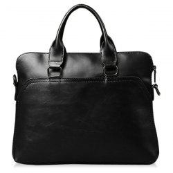 Faux Leather Zipper Briefcase - BLACK