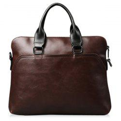 Faux Leather Zipper Briefcase