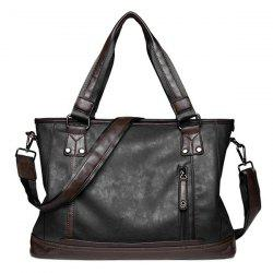 Zip PU Leather Laptop Bag
