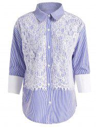Buttoned Striped Plus Size Lace Shirt - AZURE 4XL