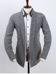 Shawl Collar Long Sleeve Texture Cardigan