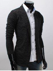 Shawl Collar Long Sleeve Texture Cardigan - DEEP GRAY